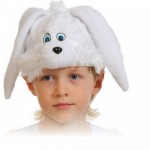 Карнавальная шапка Зайчик белый плюш 4003