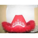 Шляпа карнавальная красная с меховой оторочкой СН1040С-2