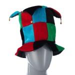 Колпак шутовской шляпа голубой-черный-красный-зеленый с бубенцами