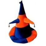 Колпак шутовской конус оранж-черный с рогами и бубенцами
