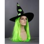 Карнавальный парик с колпаком ведьмочка,зеленый 65002