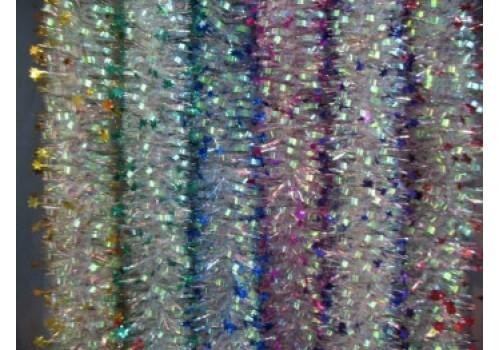 Новогоднее украшение мишура 10 слойная 9,5см со звездами 2,5м