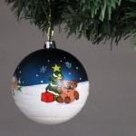 Елочный шар 10 см с ручной росписью Винни Пух и Пятачок S0032