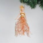 Новогодняя подвеска фея 28 см в оранжевом платье