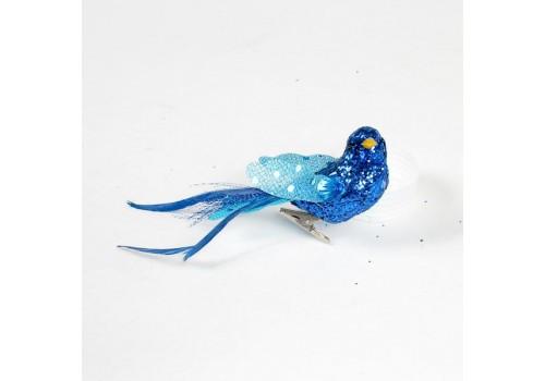 Птица декоративная с перьями и стразами V79005