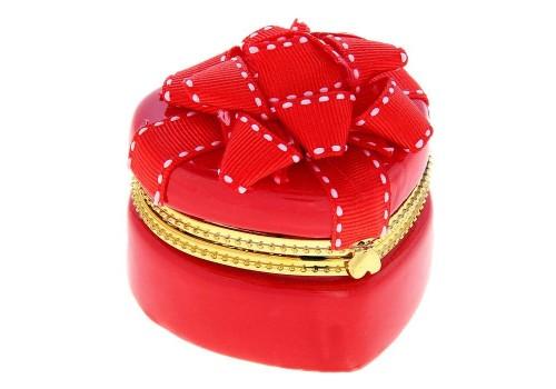 Шкатулка керамическая, красный бант
