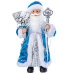 Дед Мороз 30 см под ёлку с посохом в голубой шубе 96403