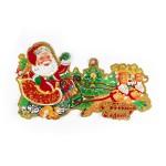 Новогоднее панно Дед Мороз на санях 51х29 см