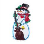 Новогоднее панно снеговик маленький с птичкой 60х30