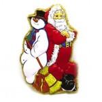 Новогоднее панно дед мороз и снеговик с мишурой 77х50