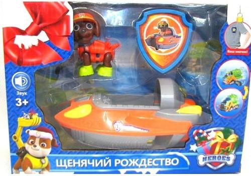 Фигурка Щенячий патруль с машиной и значком 2080