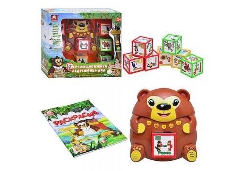 Обучающая игрушка Медведь с кубиками на батарейках РЕН80054R/SS