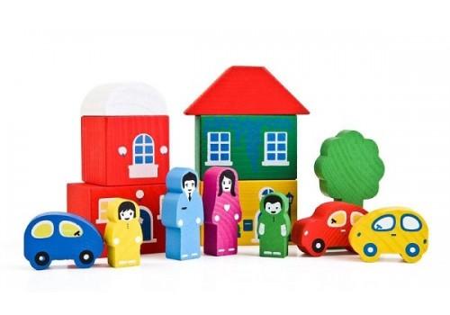 Конструктор деревянный Цветной Городок 14 деталей 8688-4