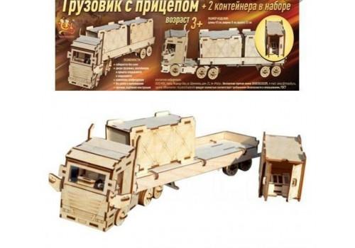 """Конструктор деревянный """"Грузовик с прицеп"""" + 2 контейнера ТР-01"""