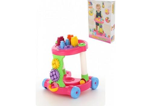 Каталка игровая с конструктором 13 элементов розовая 58140
