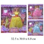 Кукла гнущаяся, платья, зеркало, скрипка, заколки 7722Е