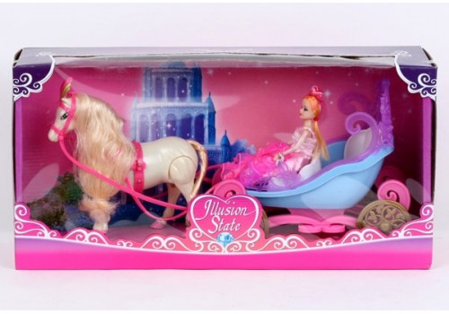 Карета с лошадью на батарейках ходит и куклой 28922В