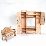 """Деревянная мебель """"Гостиная"""" для кукол 30 см ДК-2-07"""