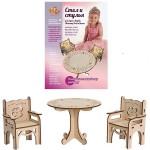 Деревянный конструктор стол и стулья для кукол 30 см ДК-2-10