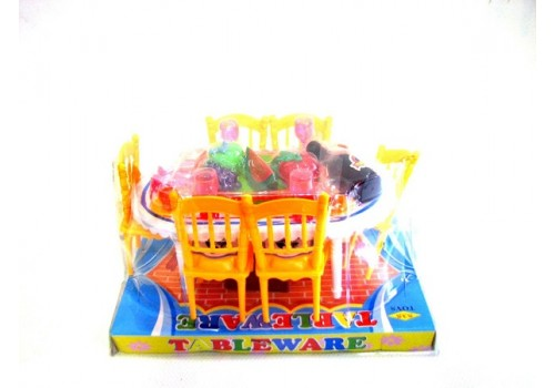 Мебель для кукол Обеденный стол+стулья с аксессуарами