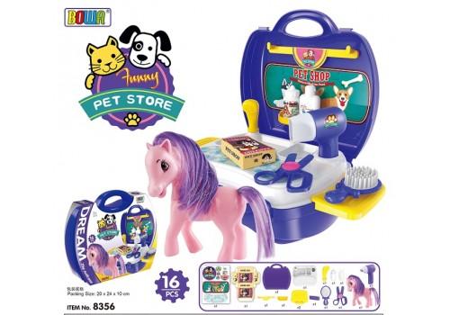 Салон для животных + Лошадка в чемодане 8356