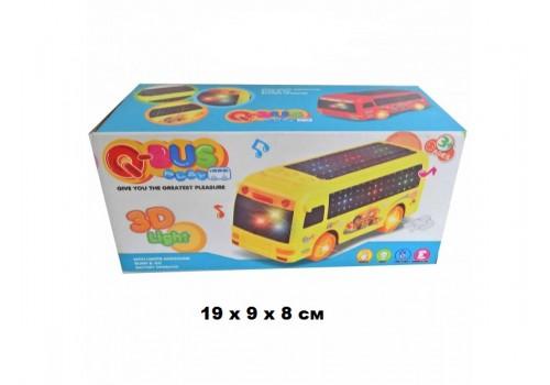 Автобус на батарейках 3D световые эффекты, звук в коробке ZX168