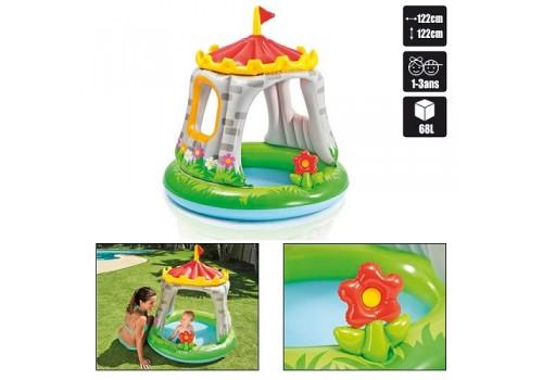 Бассейн надувной Замок с навесом, игрушкой 57122 1-3 года