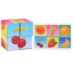 Кубики в картинках фрукты 4 штуки 00801