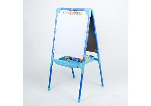 Детский двухсторонний мольберт с пеналом голубой NEW