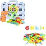 Конструктор-мозаика в чемодане с шуруповёртом 144 детали 9021