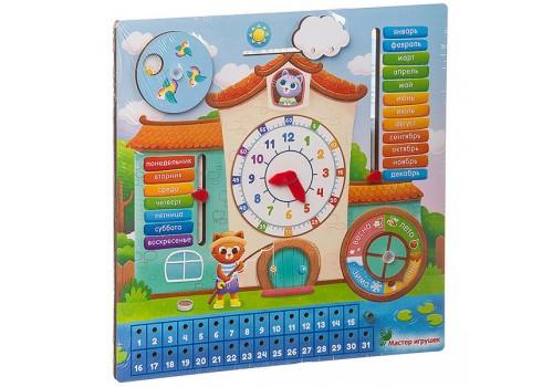 """Обучающая доска Календарь с часами """"Кошкин дом"""" IG0255"""
