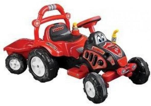 Трактор с прицепом аккумуляторный (лопата+грабли)