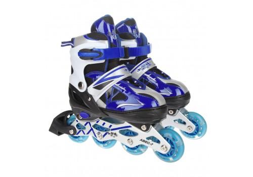 Роликовые коньки в сумке р-р М синие 603/К-001
