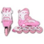 Роликовые коньки  р-р S розовые 603/К-001