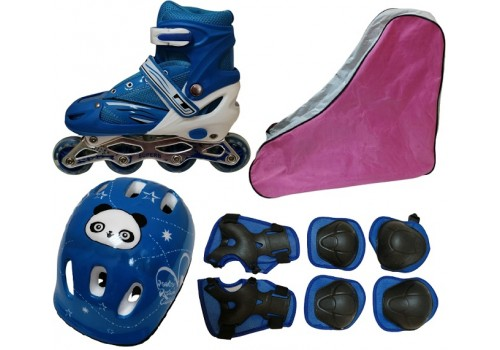 Коньки роликовые раздвижные+защита+шлем в наборе, сумка переноска размер 39-42 голубые