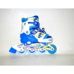 Коньки роликовые раздвижные, голубые размер 31-34