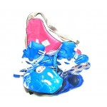 Коньки роликовые раздвижные+защита+шлем в наборе, сумка переноска размер 35-38 голубые