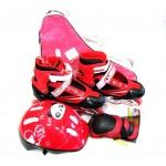 Коньки роликовые раздвижные, защита, шлем в наборе, сумка переноска размер 38-41 красные