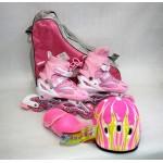 Коньки роликовые раздвижные+защита+шлем в наборе размер 35-38 розовые