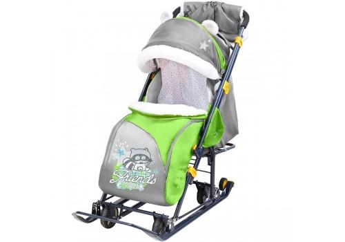 Санки-коляска Ника детям 7-6 с качающим устройством Енот зеленый/серый