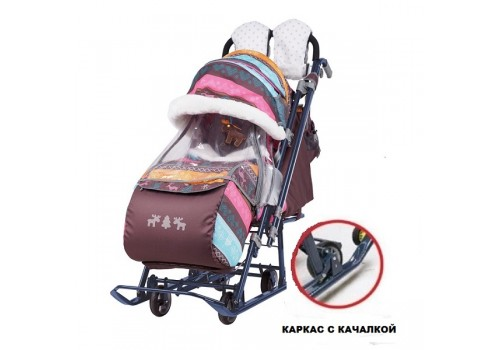 Санки-коляска Ника Детям 7-7 принт скандинавский розовый