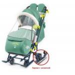 Санки-коляска Ника Детям 7-7 в джинсовом стиле зелёный