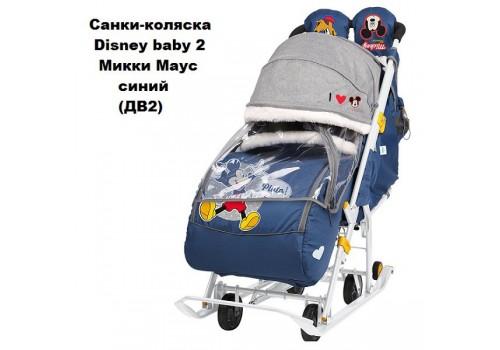 Комбинированные санки-коляска Nika Disney baby 2 Микки Маус синие