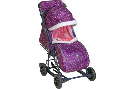 Санки-коляска Ника детям 8-1 Фламинго сливовый