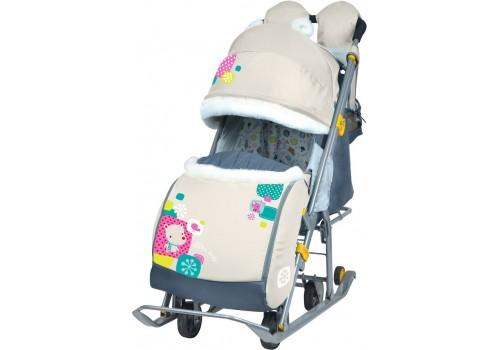 Санки-коляска Ника детям 7-2 коллаж мишка бежевый