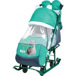 Санки коляска Ника детям 7-2 Kitty изумруд новые