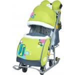 Санки-коляска Ника детям 7-2 коллаж-жираф лимонный