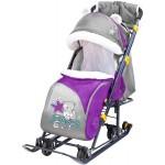 Санки-коляска Ника детям 7-6 с качающим устройством с котёнком баклажановый/серый