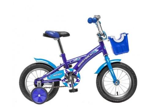 Велосипед 12 дюймов Новатрек Delfi, сине-голубой с передней корзинкой