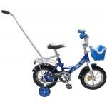 Велосипед 12 дюймов Новатрек Kross, синий, корзина, ручка управления